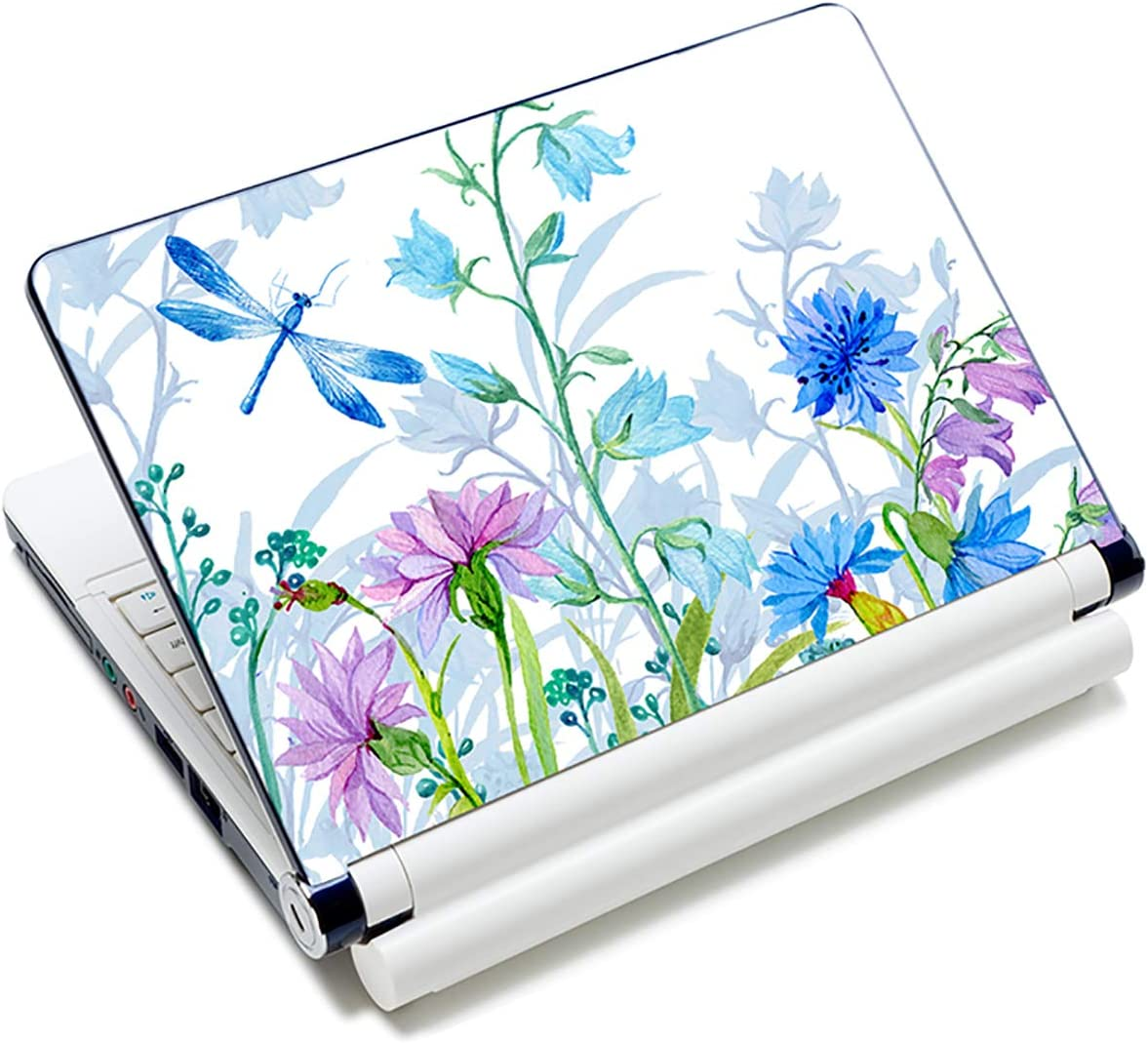 """Baocool Laptop Skin Sticker Decal,12"""" 13"""" 13.3"""" 14"""" 15"""" 15.4"""" 15.6 inch Laptop Skin Sticker Cover Art Decal Protector Notebook PC (Dragonfly & Flowers)"""