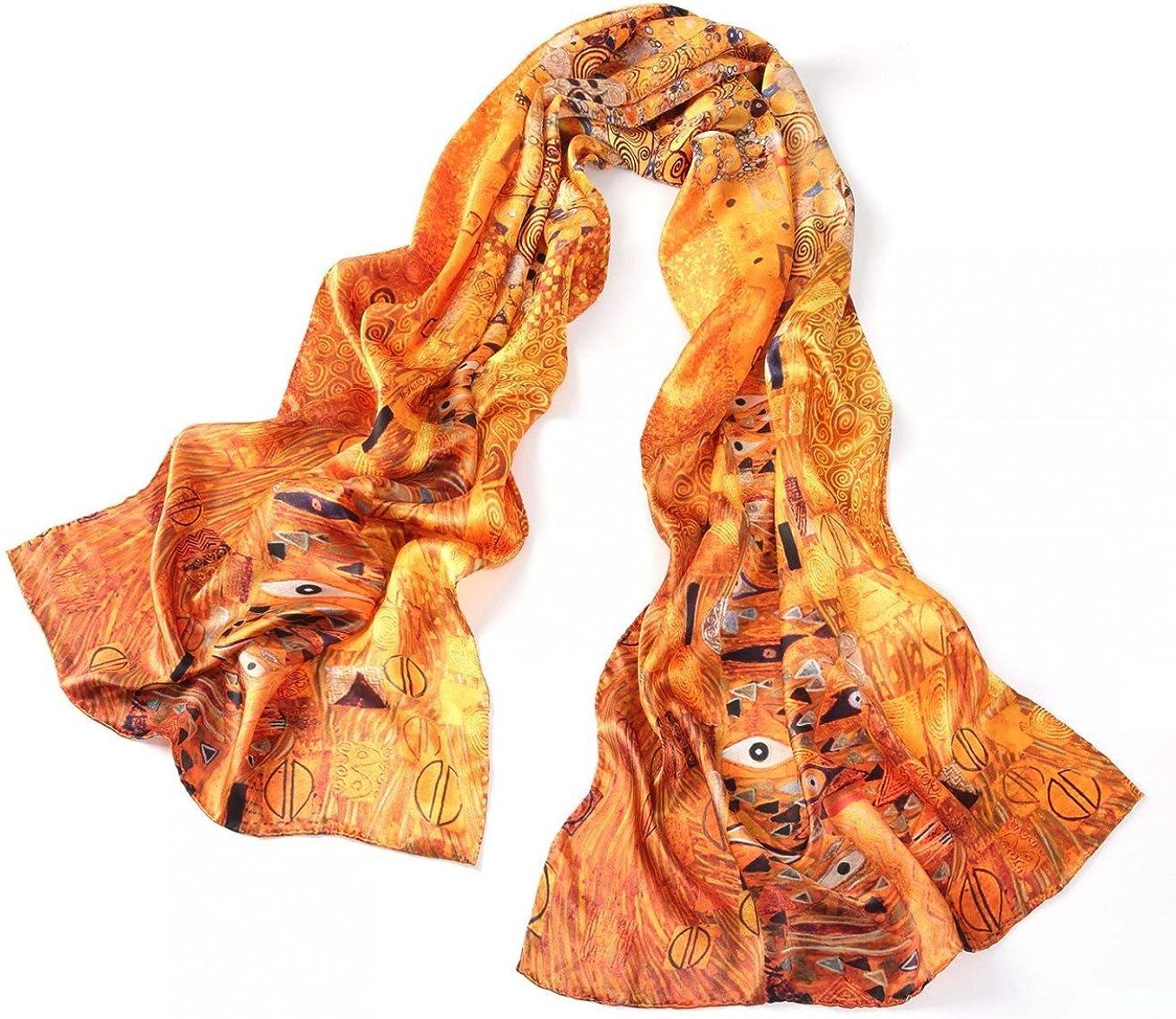 prettystern LUXUS 100/% hecho a mano pa/ñuelo de Satin seda 170cm Gustav Klimt diferentes dise/ños