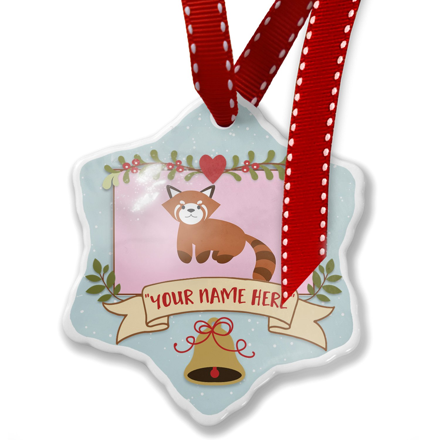 Add Your Own Custom Name, Cute Animals for Kids Red Panda Christmas Ornament NEONBLOND