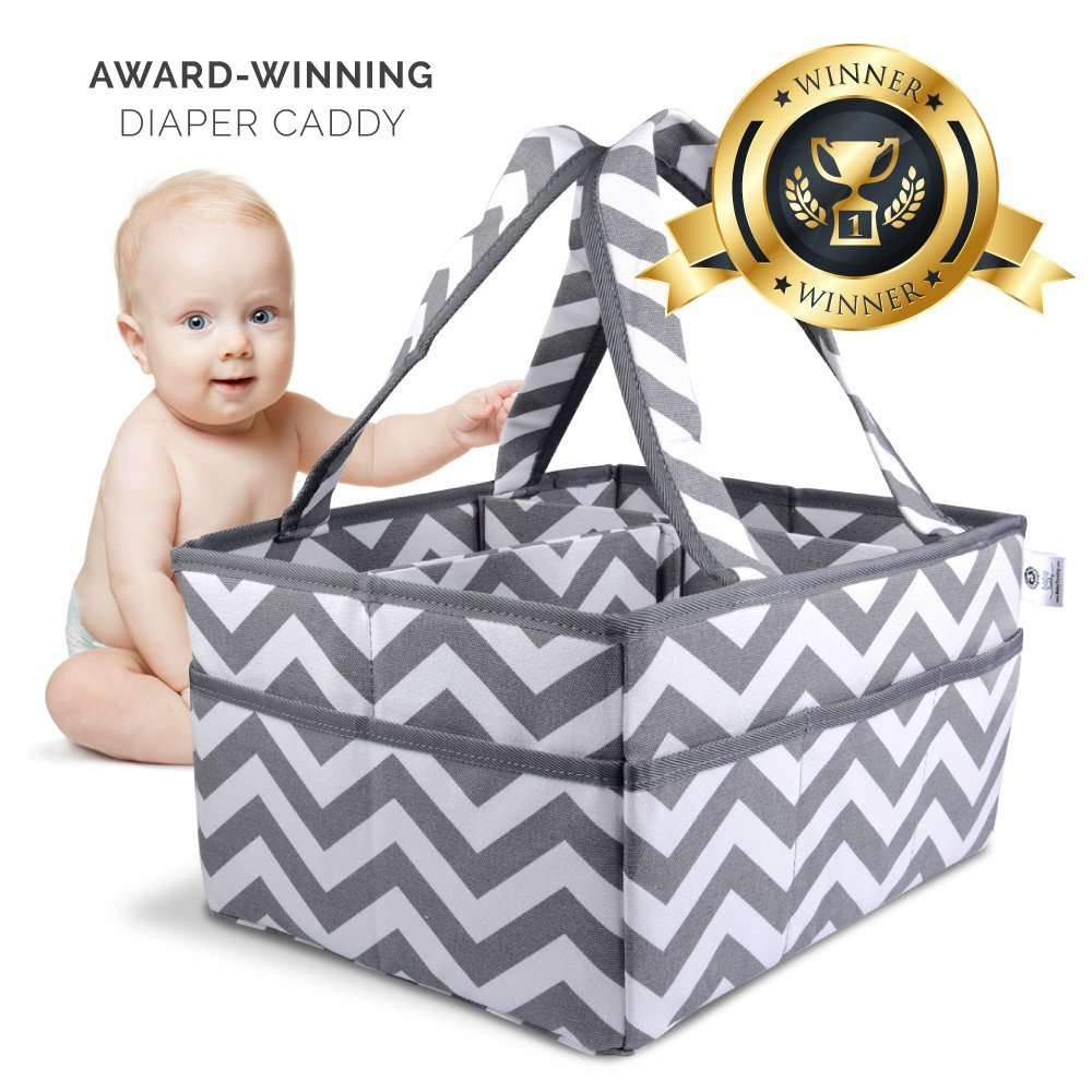 Baby Tooshy Diaper Caddy Organizer - Strong, Portable, Large, Sturdy - Keeps Everything Organized - Removable Divider for Multipurpose use. Suitable for Cloth or Disposable Diapering. Chevron Grey