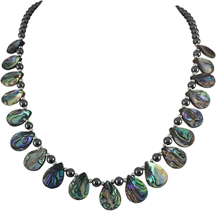 Handmade purple beads necklace with iridescent synthetic teardrop opal pendant