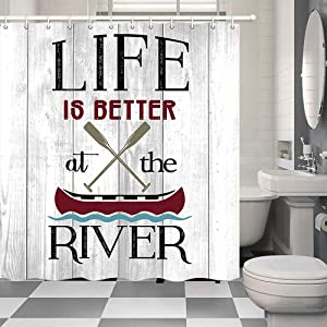"NYMB Life is Better at The River Shower Curtain, Modern Farmhouse Life with Wooden Boat on Rustic Barn Door Polyester Fabric Shower Curtain Bathroom Fantastic Decor Bath Curtains, (69"" WX70 H)"