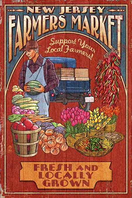 At Wednesday Farmers Market I Signed >> Amazon Com New Jersey Farmers Market Vintage Sign 24x36 Signed