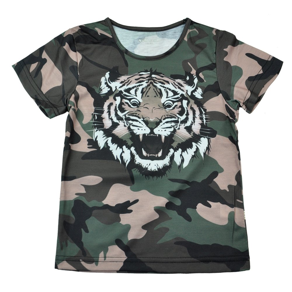 AIMBAR Kids Boys Fashion Tiger Printed Camouflage Crew Neck T Shirt Short Sleeve Top 4-13 Years (Blue, 7-8 Years)