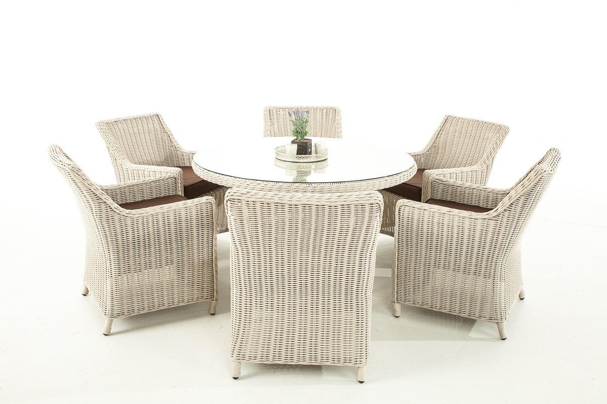 Garten-Garnitur CP069, Sitzgruppe Lounge-Garnitur, Poly-Rattan ~ Kissen terrabraun, perlweiß