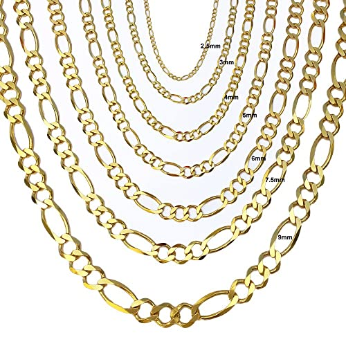 "Joule Shop 10K Solid Yellow Gold Figaro Chain Necklace | 7.5mm width | 20""-30"" len..."