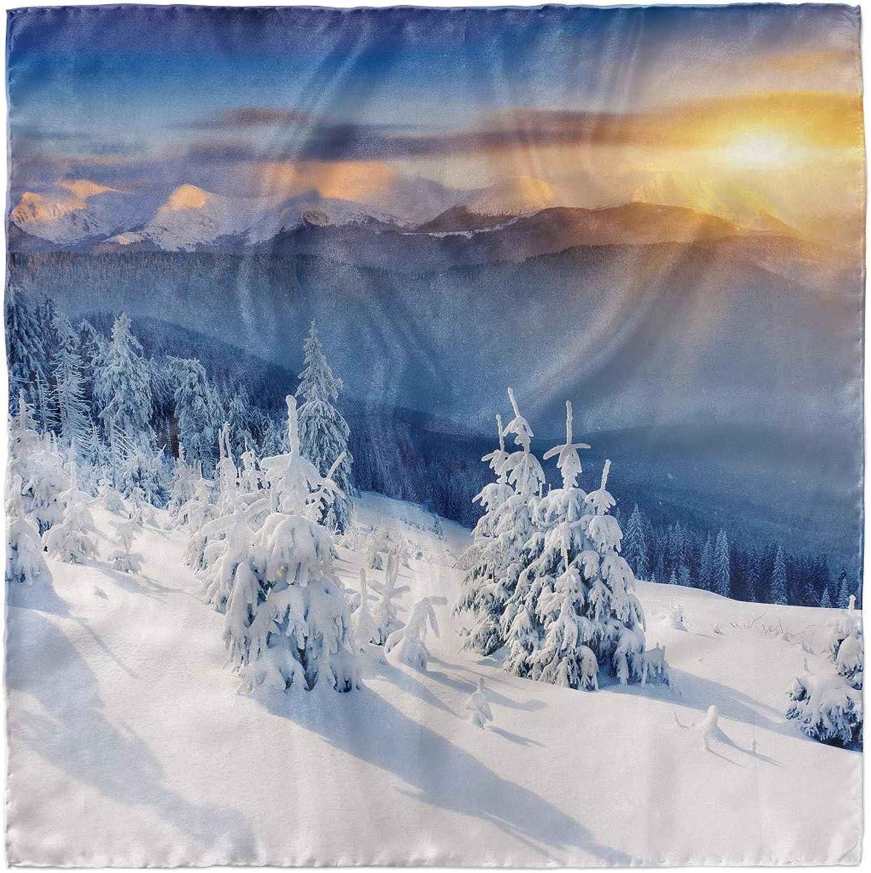 Ambesonne Winter Headscarf Hijab Scarf Tops Dramatic Sky Alpine