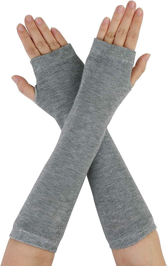 Ymwave 7PCS Knit Arm Warmer Thumb Hole Half Fingerless Warm Gloves for Men Women