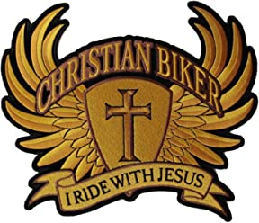 7b2d5b44ce6 Christian Biker I Ride with Jesus Large Back Patch - 10x8.5 inch.  Embroidered