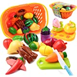 Tomons Kids Pretend Food Toys, Cutting Fruits Vegetables Kitchen Play Food Set for Toddlers with Basket - 20 Pieces