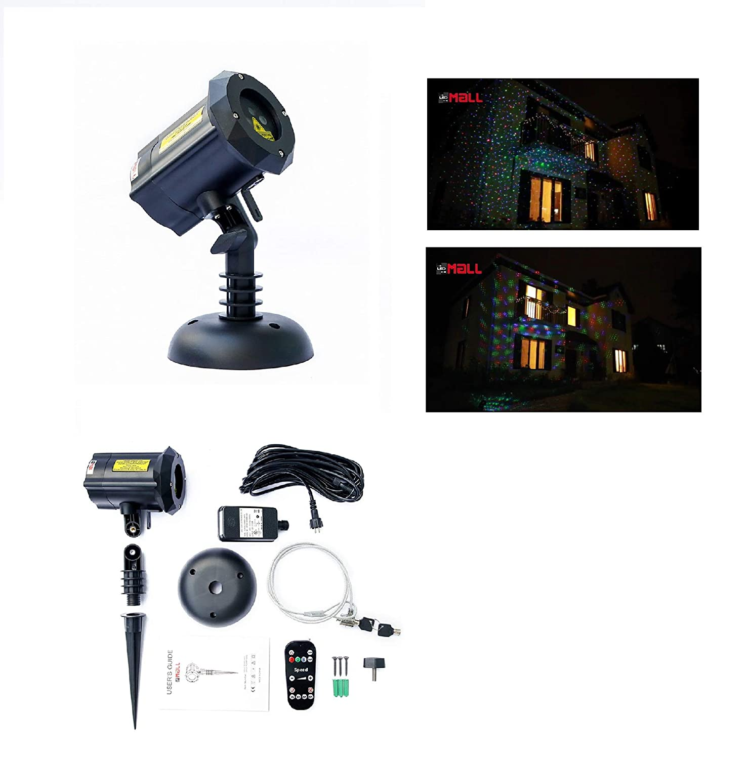 LedMAll® Moving Firefly RGB Outdoor Garden Laser Christmas Lights with RF Remote Control and Security Lock