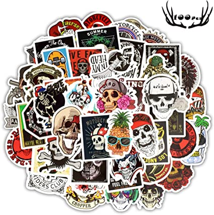 100pcs Cool Stickers Pack for Laptop Horror Skull Crazy Stickers and Decals Car Luggage Bicycle Motorcycle Computer Skateboard Snowboard Water Bottle Graffiti Vinyl Decal Pack Sticker Bomb