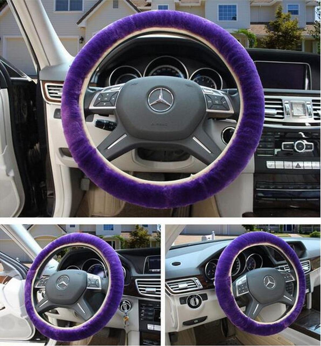 Lightweight Steering Wheel Covers Black OKAYDA Faux Wool High-Elastic Steering Wheel Cover Fits Tight on Wheel Warm Hands in Winter Absorb Hand Sweat in Summer