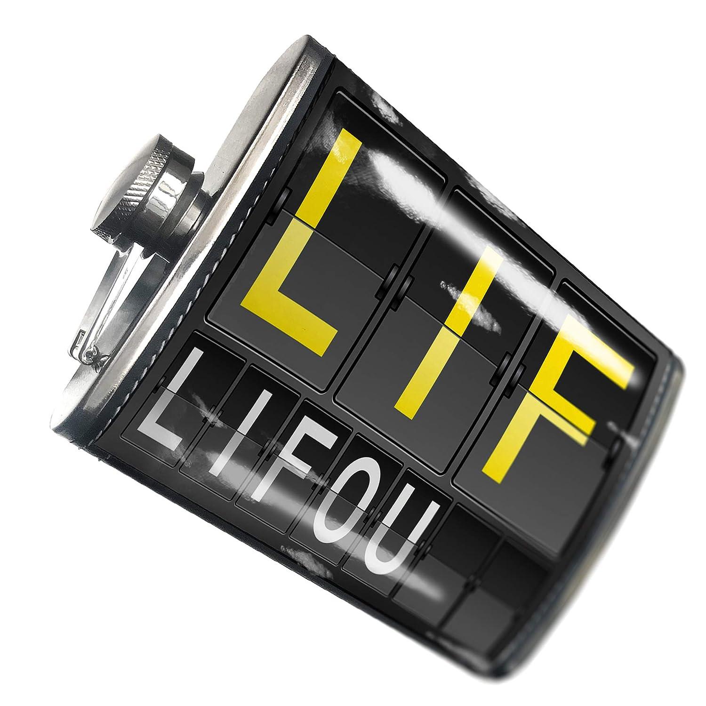 8オンスフラスコステッチLif Airportコードfor Lifouステンレススチール – Neonblond   B00QQVFJ62
