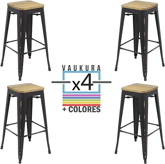 Vaukura Taburete Alto Tolix (Pack 4) - Taburete Industrial Metálico Vintage Asiento Madera (Negro Vintage): Amazon.es: Hogar