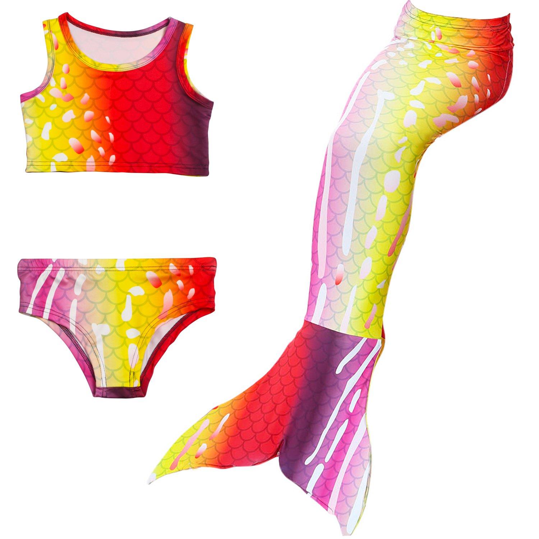 Multicoloured Girls Mermaid Lace Bikini Swimwear Swimsuit Bathing Suit Diving Suit Costume Tankini Swimming Costume Swimsuit Shorts