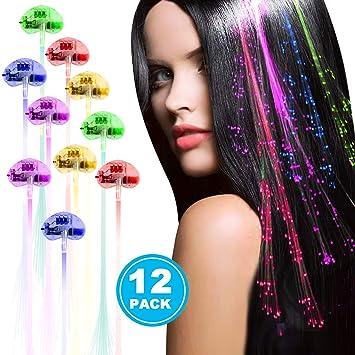 LED Light-Up Hairpin Braid Luminous Fiber Optic Flashing Hair Rave Party