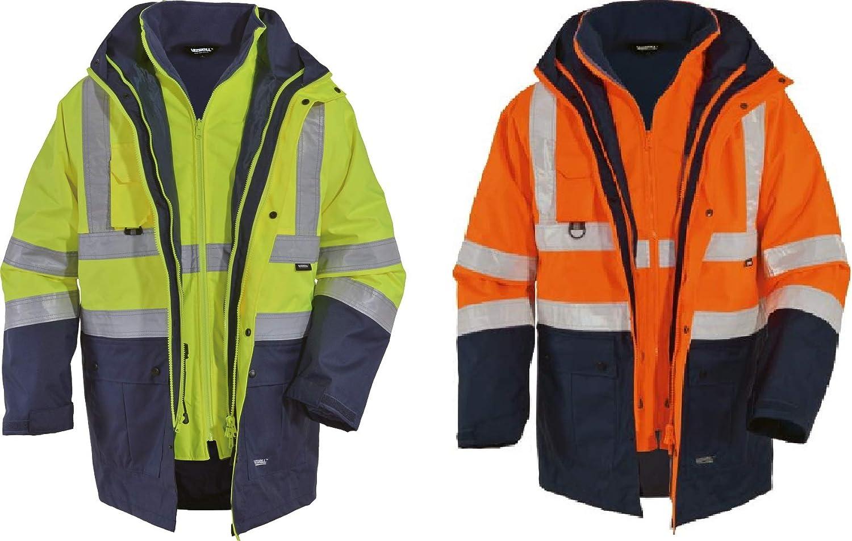 Vizwell 5in1 Warnschutzparka 5in1 Warnschutz-Parka Warnschutzjacke Gelb-Marine oder Orange-Marine Gr.S-4XL