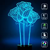 Rose 3D lamp, Optical Illusion Night Light for Nursery / Decor / Living Room, 7 Colors Changing Flowers Sign Gifts for Lovers / Birthday / Valentine's Day by YKL WORLD