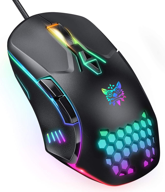 ONIKUMA Ratón Gaming con Cable, ratón Gaming con luz RGB, 6400 PPP Ajustables, ergonómicos ópticos, Ratones Gaming de computadora para Windows 7/8/10 / XP Vista Linux