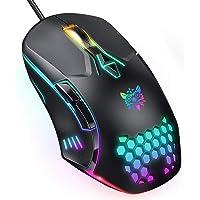 ONIKUMA Ratón Gaming con Cable, ratón Gaming con luz RGB, 6400 PPP Ajustables, ergonómicos ópticos, Ratones Gaming de…