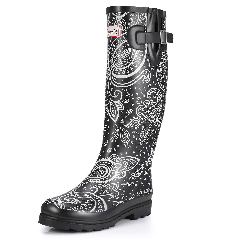 Freemin Womens Waterproof Rubber Rain Boot Paisley