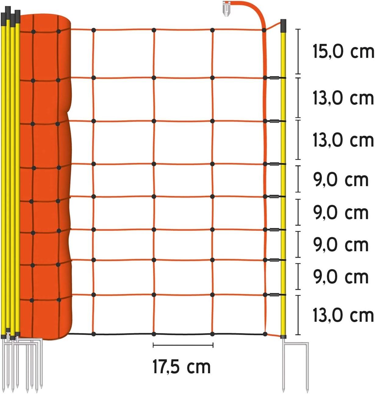 Pointe Unique ou Pointe Double 14 Piquets Cl/ôture pour Moutons Hauteur : 90 cm Cl/ôture /Électrique VOSS.farming Longueur : 50 m