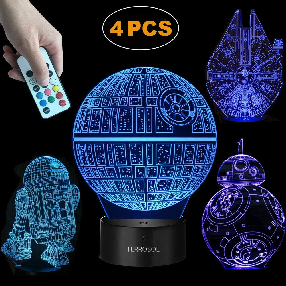 Terrosol 3D Star Wars Lamp - Star Wars Gifts - 4 Pattern& 1 Base& 1 Remote - Star Wars R2-D2/Bb8/Death Star/Millennium Falcon - Star Wars Light - Star Wars - Optical Illusion Led Light - Star Wars Lamp