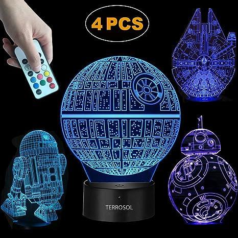 Star Wars Terrosol 3d 1 Regalos 4 Lámpara Patronesamp; 80vwnNmO