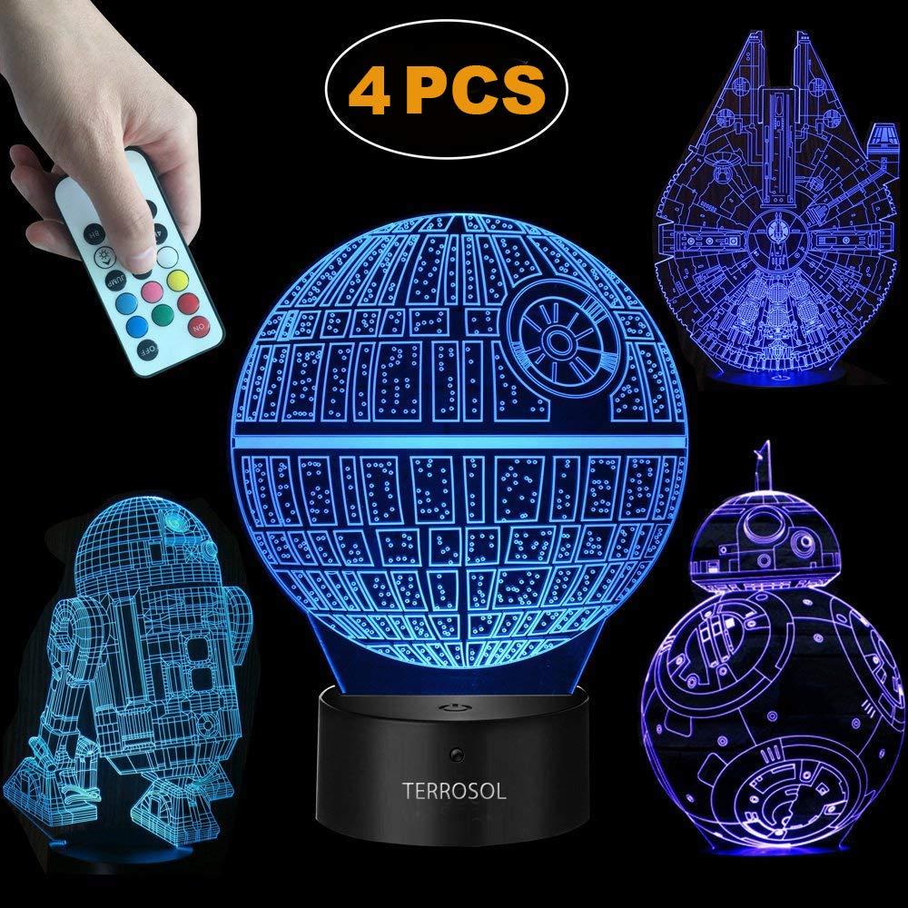 Terrosol 3D Star Wars Lamp - Star Wars Gifts - 4 Pattern&1 Base&1 Remote - Star