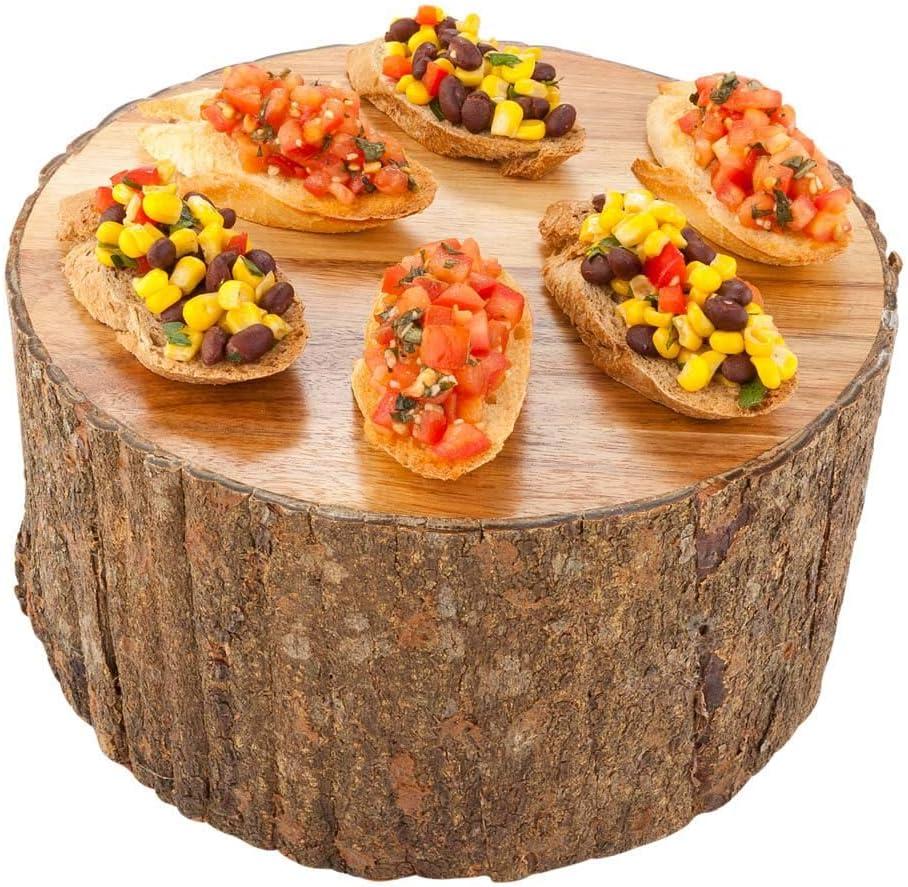 Display Riser, Food Riser, Food Display - Acacia Wood - Large - Varnished with Bark - 10
