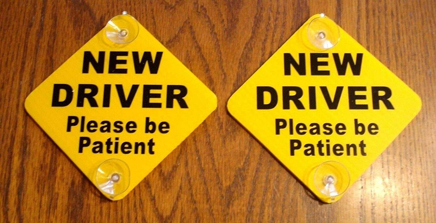 Peter Select (2) New Driver ''Please Be Patient'' Car Window Signs with Suction Cups 5''x 5'' Funny Retro Vintage Business Nostalgic Signs