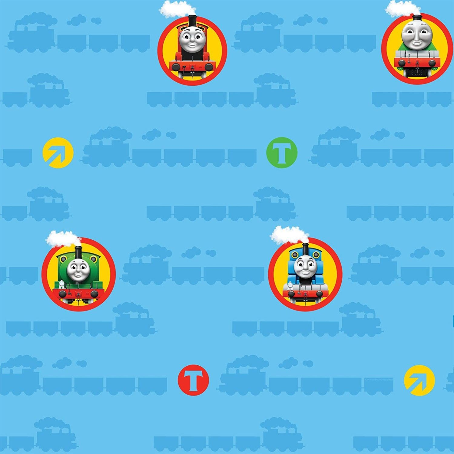 Thomas Friends Wallpaper Tank Engine Trains Blue Colourful Kids