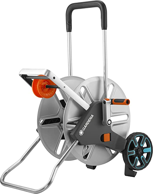 GARDENA AquaRoll L Easy Metal 18550-20 Carro portamanguera grande, capacidad de hasta 100 m, muy estable, guía para manguera con bastidor metálico: Amazon.es: Jardín