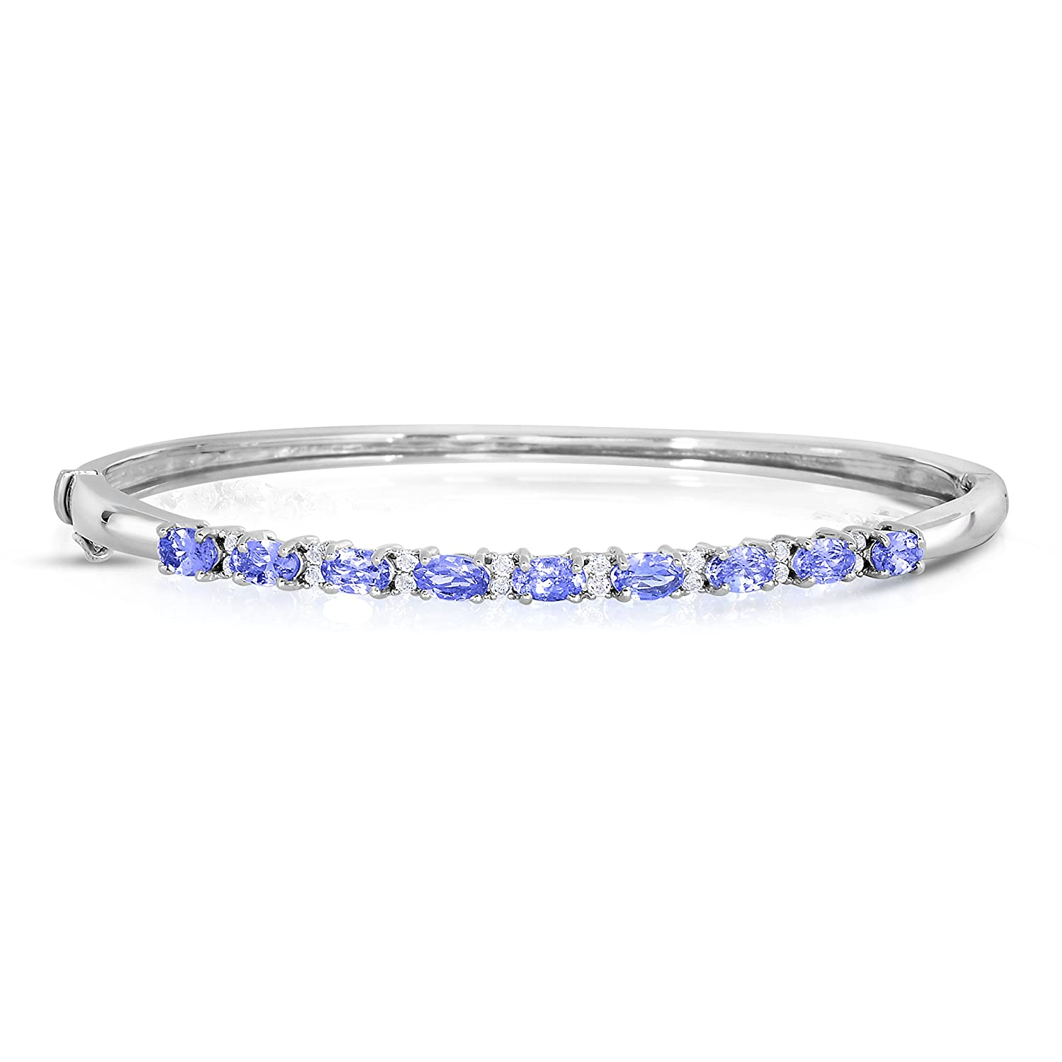 NATALIA DRAKE 2-1//3 Cttw Genuine Oval Tanzanite and White Topaz Bangle in Sterling Silver