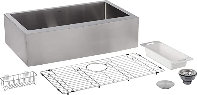 ZUHNE 33-Inch Single Bowl Farmhouse Curved Apron Front Stainless Steel Kitchen Sink 16-Gauge