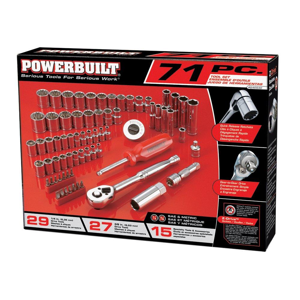 16 Pieces SAE Socket Set Powerbuilt 641709 1//2 Drive 12 Pt