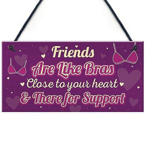 MiMiTee Friends Are Like Bras -Cartel de Madera Estilo ...