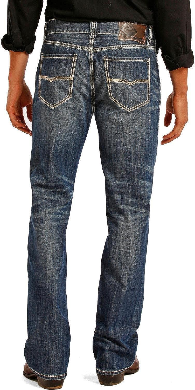 Rock & Roll Denim Men's Relaxed Fit Double Barrel Straight Leg Vintage Wash Western Jeans