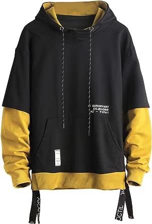 GURUNVANI Contraste Color Pullover Sudadera con capucha para Hombre Patchwork Sudaderas Hombres