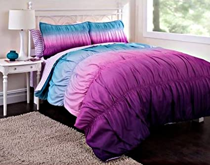 1fb438fe4a2d Amazon.com: 7pc Girl Purple Reversible Tie Dye Queen Comforter Set ...