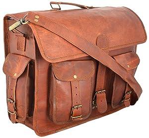 Leather Messenger Vintage Leather Laptop Bag, Briefcase for Men & Women. 12