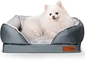 Fida Orthopedic Dog Bed with Memory Foam Base - Dog Lounge Sofa with Removable Washable Cover, Pets Couch Beds for Small Dogs & Cats (Small, Grey)
