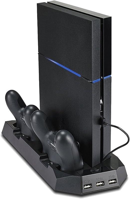 KOBWA - Soporte Vertical para PS4 con Ventilador de refrigeración, estación de Carga de Controlador Dual para Sony ...