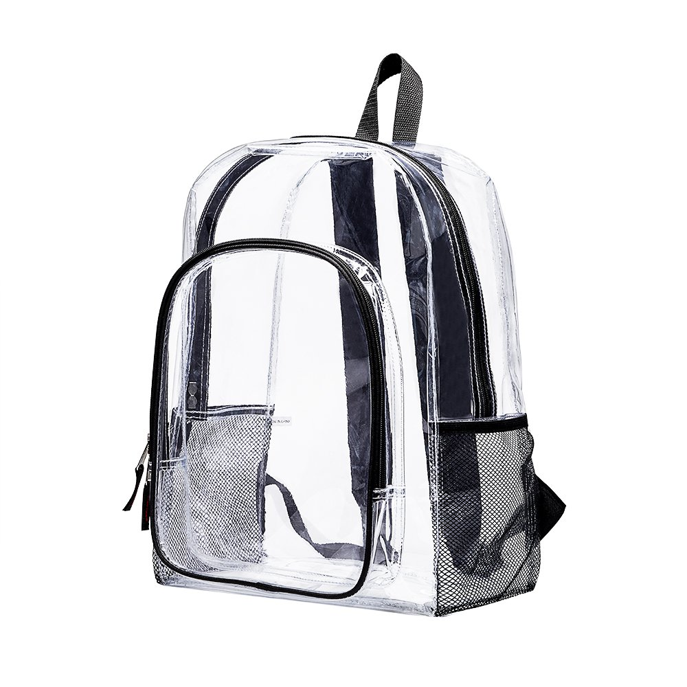Clear Transparent Backpack, Heavy Duty Multi-pockets School Bag, Clear PVC See Through Student Outdoor Backpacks for School, Security, Sports