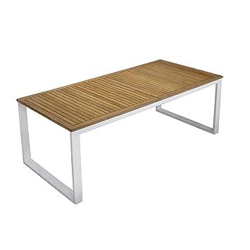 Colombe Table à allonge papillon en aluminium et teck ...