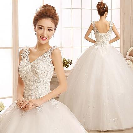 HU Moderno Hombro V-Cuello Vestidos de Gran Tamaño Qi Banded Vestidos de Novia Simple