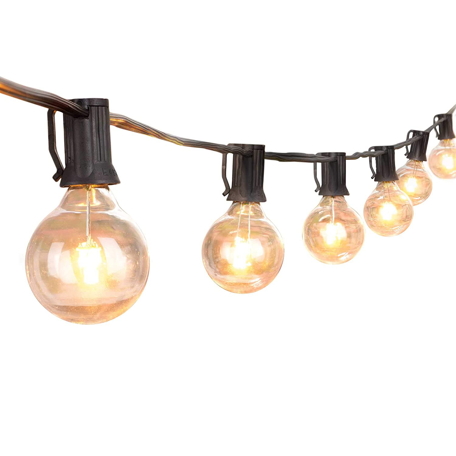 quality design ff191 0a9e1 25Ft LED Outdoor String Lights with 25 LED Warm Globe Bulbs-UL Listed G40  Patio Lights for Indoor/Outdoor Backyard Garden Bistro Gazebo Balcony  Market ...