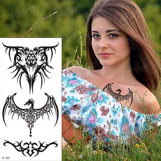 3 Piezas Tatuaje Mujer Cuerpo Impermeable ala Tatuaje Negro ...