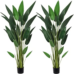 Artiflr 2Pack 5.3Ft Artificial Bird of Paradise Plant Fake Tropical Palm Tree with 25 Detachable Trunks Faux Tropical Plant Tree for Indoor Outdoor, Perfect for Home Garden Office Store Decoration